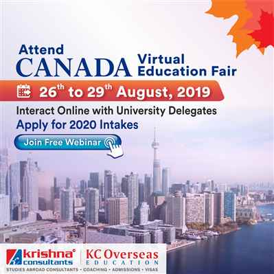 Attend Canada Virtual Education Fair from 26th to 29 August 2019 – Free Entry