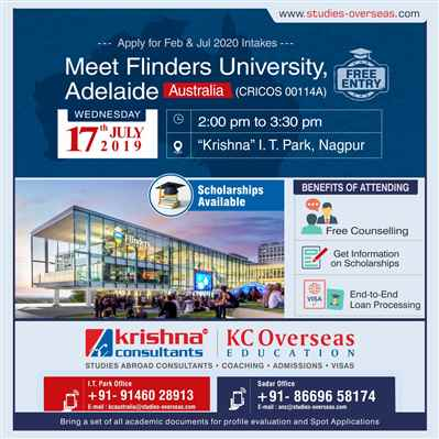 Meet Apply to Flinders University Australia 17th July 2019 at Krishna Consultants Nagpur