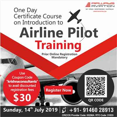 One Day Certification Course on Introduction to Airline Pilot Training Sunday 14th July 2019
