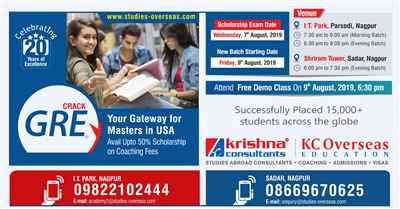 New GRE Coaching Batches starting from 9th August 2019 Krishna Consultants