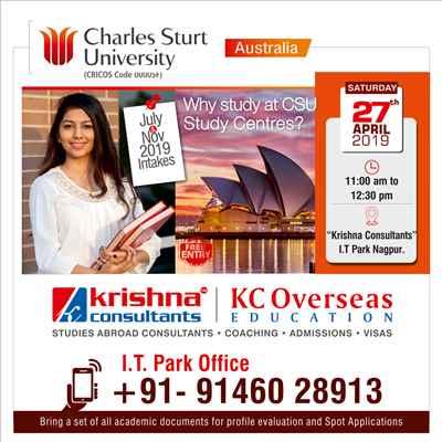 Meet Charles Sturt University Australia at Krishna Consultants Nagpur 27 April 2019