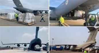 An Indian Air Force IL-76 aircraft airlifts oxygen containers from Jakarta